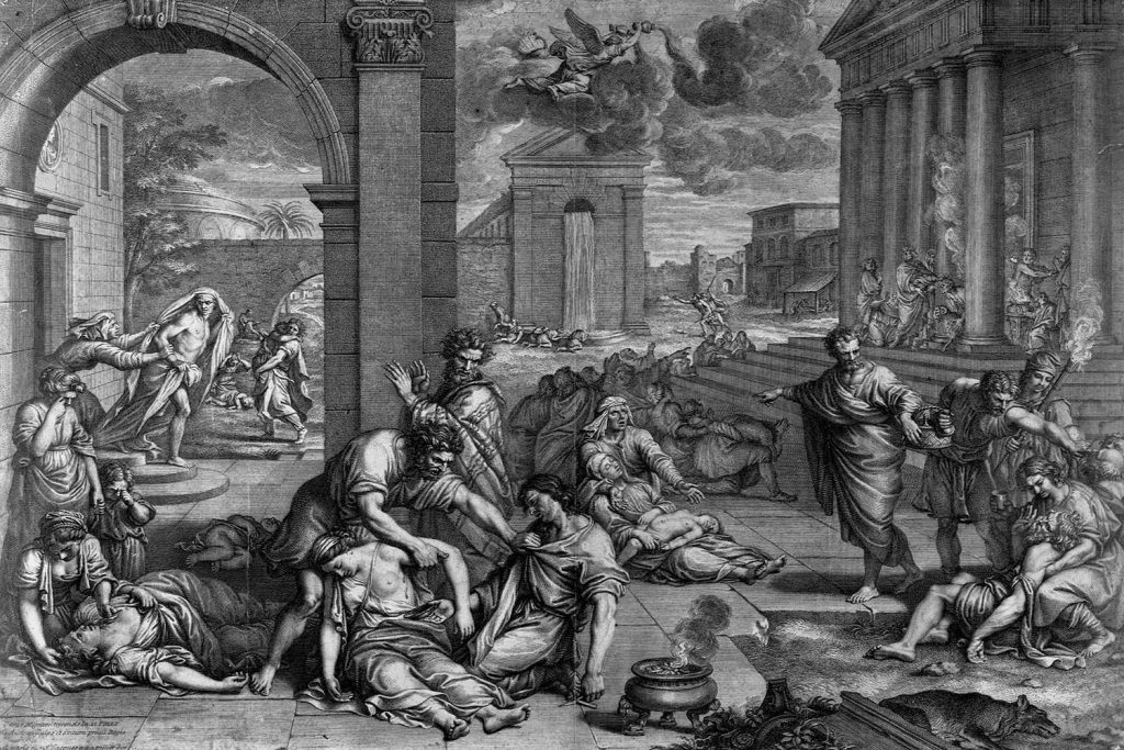 The Plague by C. Audran after P. Mignard. Library of Congress/Corbis/VCG via Getty Images